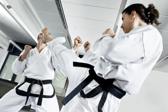An image of two fighting martial arts master