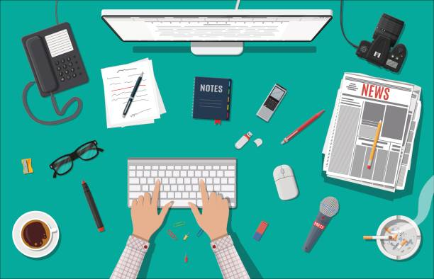 Writer or journalist workplace. Desktop pc, newspaper, mouse. Paper sheets with text, pen. Ashtray, cigarette, coffee. Eyeglasses phone microphone, photo camera Vector illustration in flat style