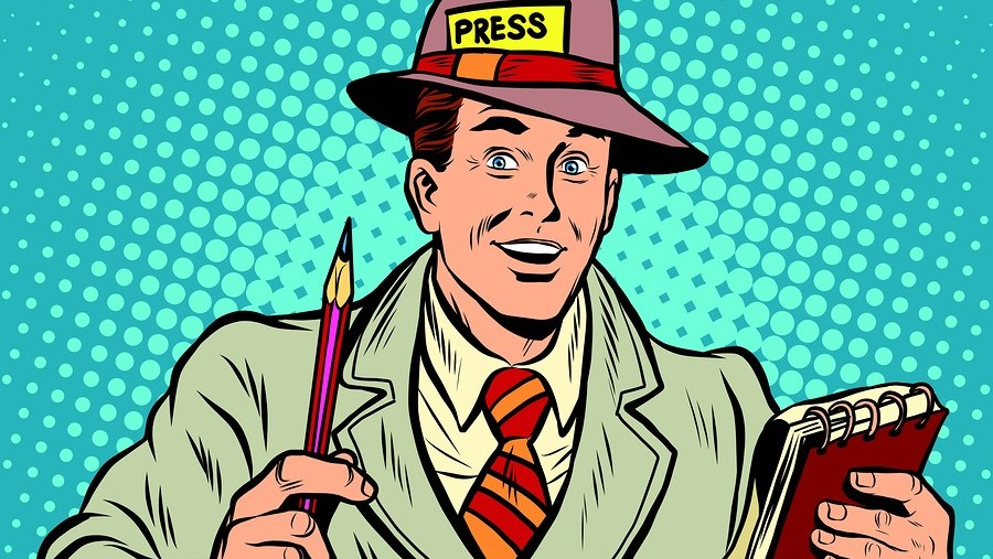 Positive retro journalist interviews press media report pop art retro style. A media industry. Policy and news